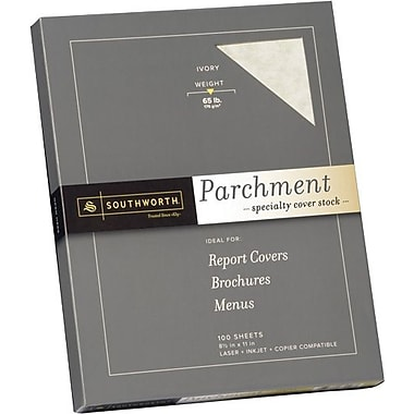 SOUTHWORTH® Parchment Specialty Cover Stock, 8 1/2in. x 11in., 65 lb., Parchment Finish, Ivory, 0/Box