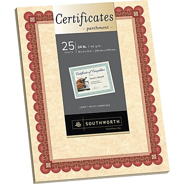 SOUTHWORTH® Parchment Certificates, 8 1/2in. x 11in., 24 lb., Parchment Finish, Copper, 15/Box