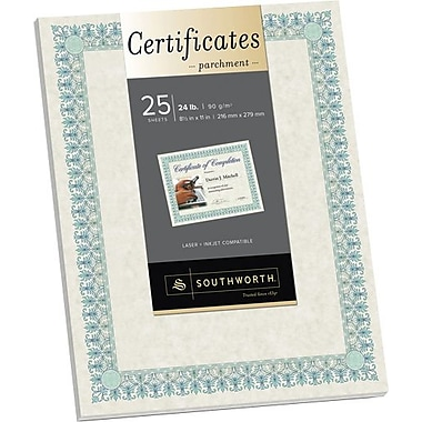 Southworth® 24 lb. Parchment Certificates, Ivory/Blue-green