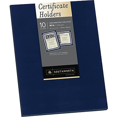 SOUTHWORTH® Certificate Holders, 9 1/2in. x 12in., 5 lb., Linen Finish, Navy, /Box