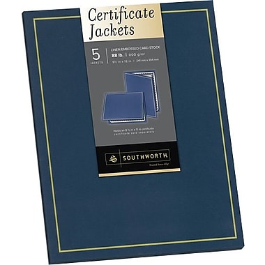 SOUTHWORTH® Certificate Jacket, Foil Enhanced, 9in. X 12in., 88 lb., Felt Finish, Navy, 5/Box