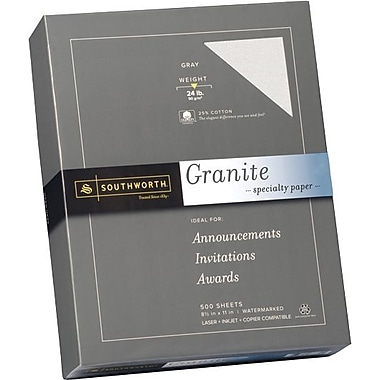 SOUTHWORTH® Granite Specialty Paper, 8 1/2in. x 11in., 24 lb., Granite Finish, Gray, 500/Box