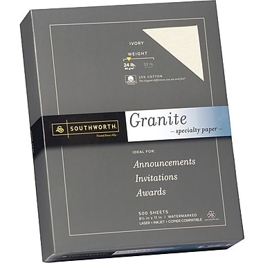 SOUTHWORTH® Granite Specialty Paper, 8 1/2in. x 11in., 24 lb., Granite Finish, Ivory, 500/Box