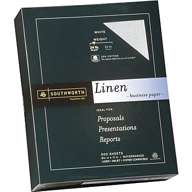 SOUTHWORTH® Linen Business Paper, 8 1/2in. x 11in., 24 lb., Linen Finish, White, 500/Box