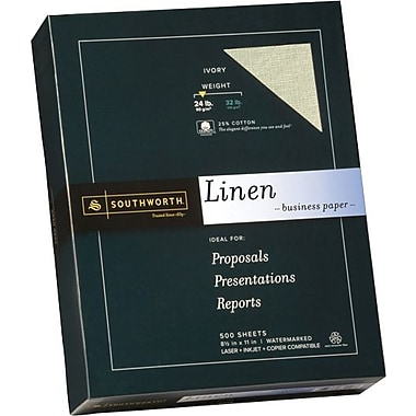 SOUTHWORTH® Linen Business Paper, 8 1/2in. x 11in., 24 lb., Linen Finish, Ivory, 500/Box