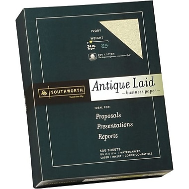 SOUTHWORTH® Antique Laid Business Paper, 8 1/2in. x 11in., 24 lb., Laid Finish, Ivory, 500/Box