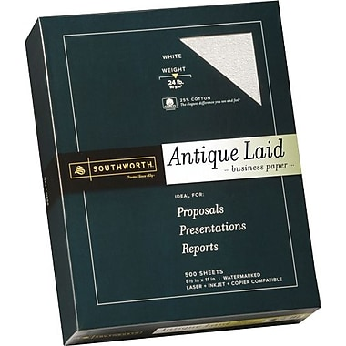 SOUTHWORTH® Antique Laid Business Paper, 8 1/2in. x 11in., 24 lb., Laid Finish, White, 500/Box
