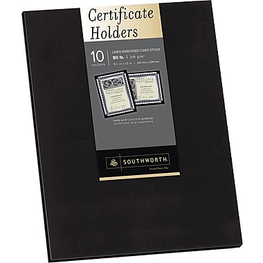 SOUTHWORTH® Certificate Holders, 9 1/2in. x 12in., 5 lb., Linen Finish, Black, /Box