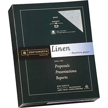 Southworth® Linen Business Paper, 24 lb., 8 1/2in. x 11in., Gray