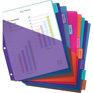 Avery® Two Tone Double Pocket Insertable Plastic Tab Dividers, 8-Tab
