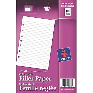 Avery® Mini Binder Filler Paper, 5-1/2