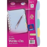 Avery 5-1/2 x 8-1/2 Mini Durable Write-On Index Tab Dividers, 5-Tab, 1 Set/Pack