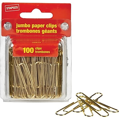 Staples® Jumbo Gold Paper Clips, Gold Tone, 100/Pack