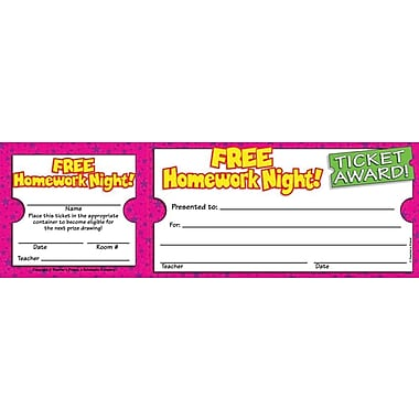 Scholastic Free Homework Night Ticket Awards