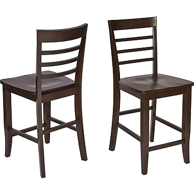 OSP Designs Jamestown 24in. Wooden Pub Stools 2 Pk,  Espresso