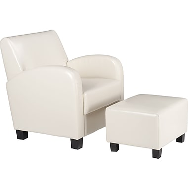 OSP Designs Faux Leather Club Chair w/ Ottoman, Cream