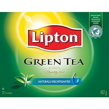 Lipton Naturally Decaffeinated Green Tea, 72/Pack