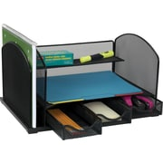 Staples® Mesh Metal Desk Organizer with Drawers, Black