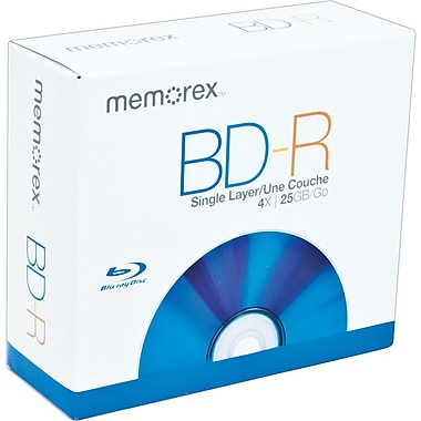 Memorex 5/Pack 25GB BD-R, Jewel Case