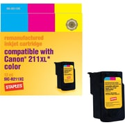 Staples Remanufactured Color Ink Cartridge Compatible with Canon CL-211XL, High Yield