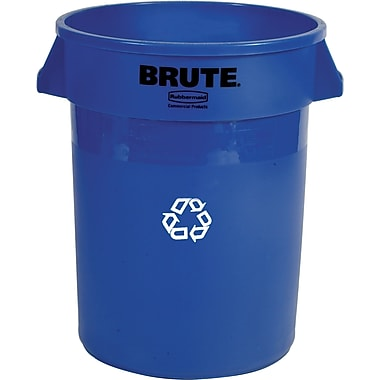Rubbermaid® BRUTE® 2632-73 Mobile Collection Equipment Recycling Container Without Lid, 32 gal., Blue