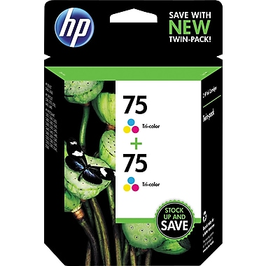 HP 75 Tricolor Ink Cartridge (CZ070FN), 2/Pack