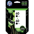 HP 60 Black Ink Cartridges (CZ071FN), Twin Pack