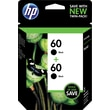 HP 60 Black Ink Cartridge (CZ071FN), Twin Pack