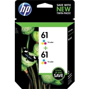 HP 61 Tricolor Ink Cartridges (CZ074FN), Twin Pack