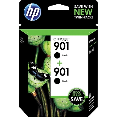 HP 901 Black Ink Cartridge (CZ075FN), 2/Pack