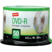 Staples® 50/Pack 4.7GB DVD-R, Spindle