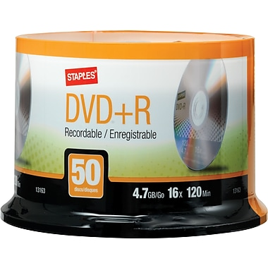 Staples 50/Pack 4.7GB DVD+R, Spindle