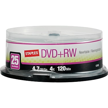 Staples 25/Pack 4.7GB DVD+RW, Spindle