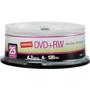 Staples® 25/Pack 4.7GB DVD+RW, Spindle