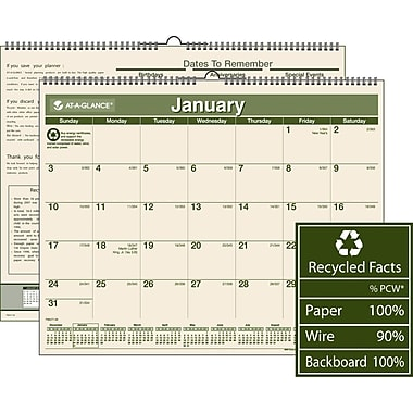 "2014 AT-A-GLANCE® 100% Recycled Wall Calendar, 15"" x 12"""