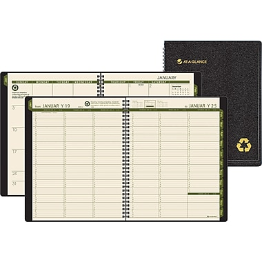 "2014 AT-A-GLANCE®  Weekly/Monthly Appointment Book, 8 1/4"" x 10 7/8"", Black"