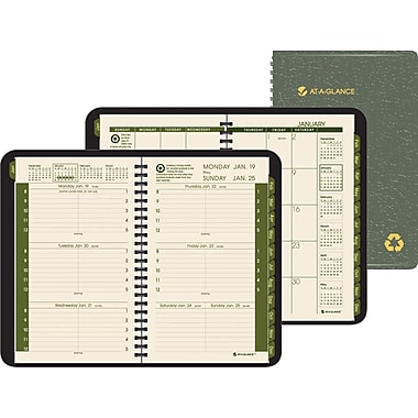 "2014 AT-A-GLANCE®  Weekly/Monthly Appointment Book, Green, 4 7/8"" x 8"""