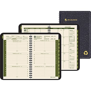 "2014 AT-A-GLANCE®  Weekly/Monthly Appointment Book, Black, 4 7/8"" x 8"""