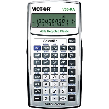 Victor® V30RA Scientific Calculator with Recycled Plastic and AntiMicrobial Protection, 10 Pack