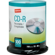 Staples 10366 700MB CD-R, Spindle, 100/Pack