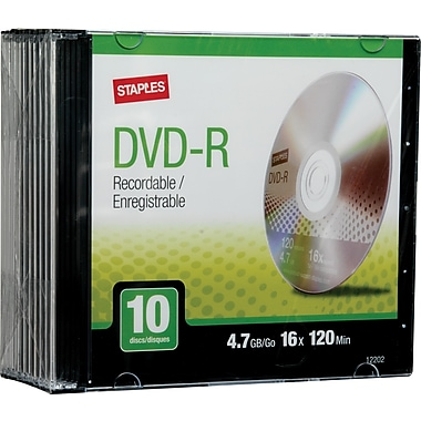 Staples 10/Pack 4.7GB DVD-R, Slim Jewel Cases