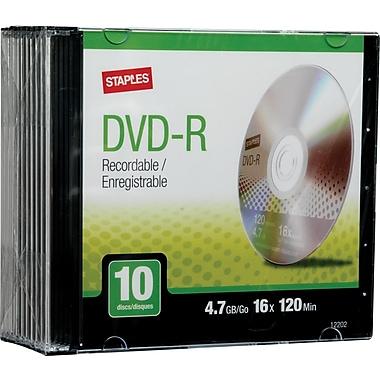 Staples 10/Pack 4.7GB DVD-R, Slim Jewel Cases