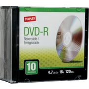 Staples® 10/Pack 4.7GB DVD-R, Slim Jewel Cases
