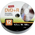 Staples 12/Pack 4.7GB DVD+R, Spindle
