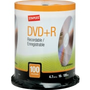Staples® 100/Pack 4.7GB DVD+R, Spindle