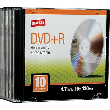 Staples 10/Pack 4.7GB DVD+R, Slim Jewel Cases