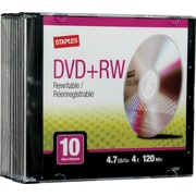 Staples® 10/Pack 4.7GB DVD+RW, Slim Jewel Cases