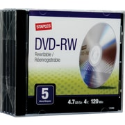 Staples® 5/Pack 4.7GB DVD-RW, Jewel Cases