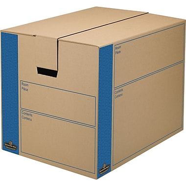 Bankers Box SmoothMove Kraft Moving Box, FastFold, Extra Strength, Small, 12.38in.W x 17.25in.D x 12.63in.H, 8/Pack