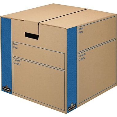 Bankers Box SmoothMove Kraft Moving Box, FastFold, Extra Strength, Medium, 18in.W x 18in.D x 16in.H, 8/Pack